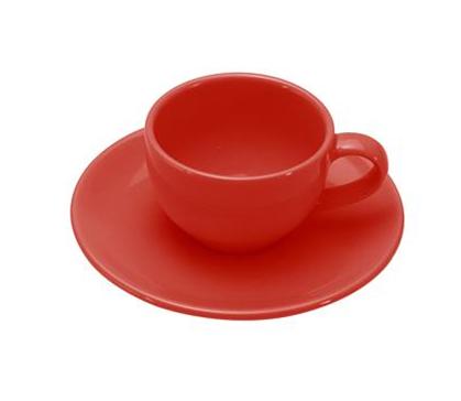 COLOURS Šálek s podšálkem na Espresso 70 ml červený - Carlo Giannini