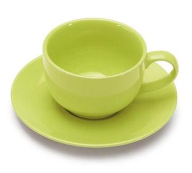 COLOURS Šálek s podšálkem na cappuccino Limetkově zelený - Carlo Giannini