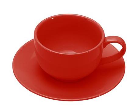 COLOURS Šálek s podšálkem na cappuccino červený - Carlo Giannini