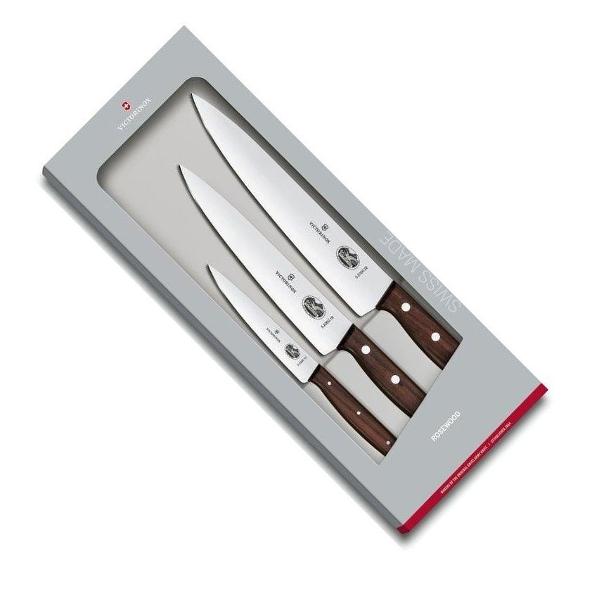 Sada kuchařských nožů 3 ks ROSEWOOD dřevěná rukojeť - Victorinox