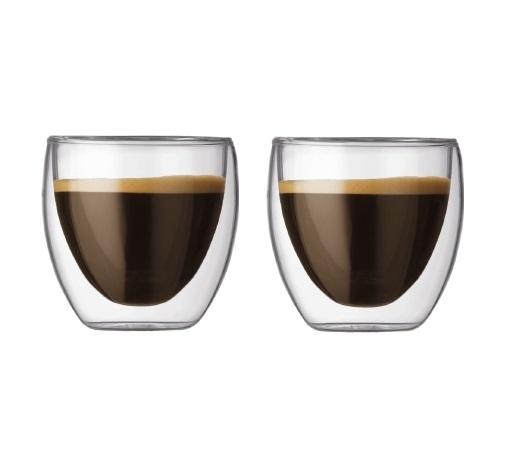 Set 2 ks Dvoustěnná sklenice PAVINA 0,08 l - Bodum