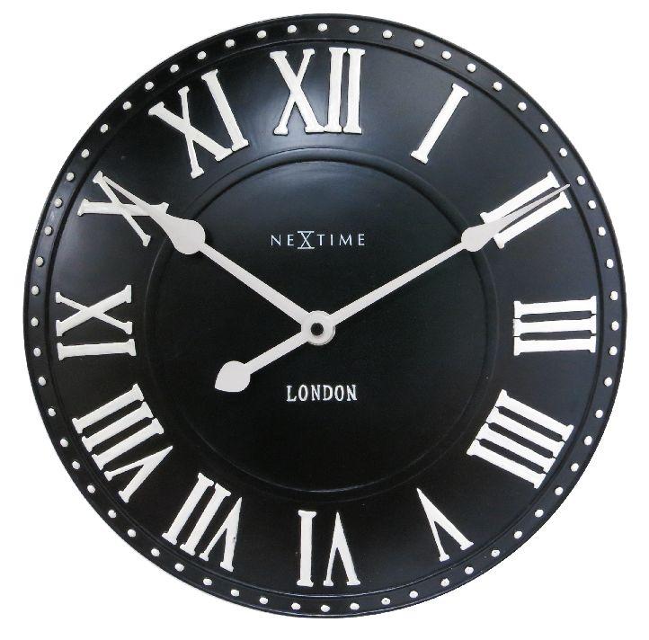 Nástěnné hodiny London Roman 35 cm černé - NEXTIME