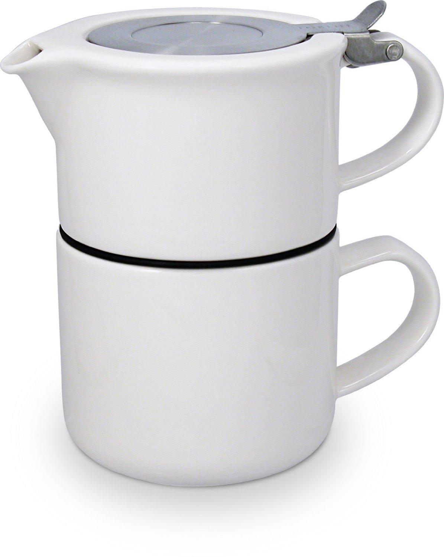 TeaForOne čajová konvička se sítkem a šálkem bílá - ForLife