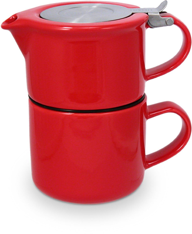 TeaForOne čajová konvička se sítkem a šálkem červená - ForLife