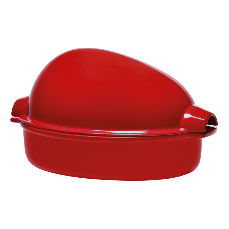 Oválný pekáč na kuře s poklicí Burgundy granátový červený 3,1 l - Emile Henry