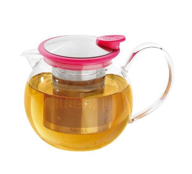 Skleněná konvička na čaj Bola 1,1 l s fuchsiovým kroužkem - ForLife