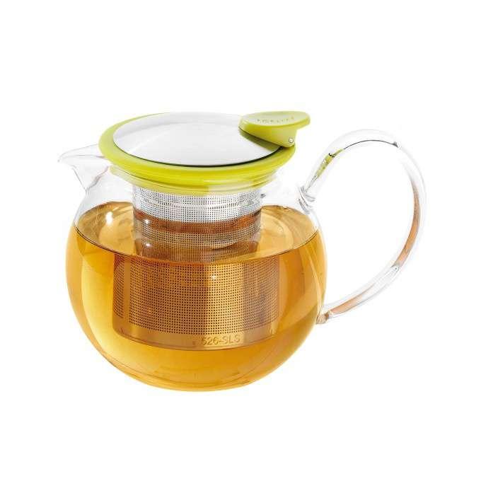 Skleněná konvička na čaj Bola 1,1 l s limetovým kroužkem - ForLife