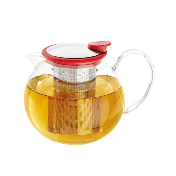 Skleněná konvička na čaj Bola 1,1 l s červeným kroužkem - ForLife