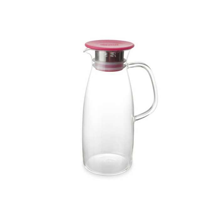 Skleněný džbán na ledový čaj se sítkem a pokličkou Mist 1,5 l červený - ForLife