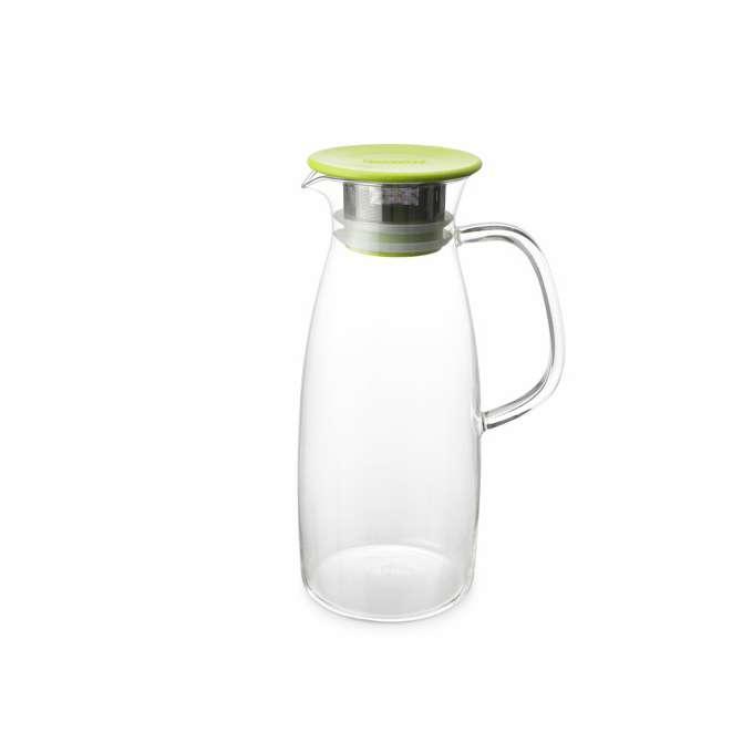 Skleněný džbán na ledový čaj se sítkem a pokličkou Mist 1,5 l limetová - ForLife