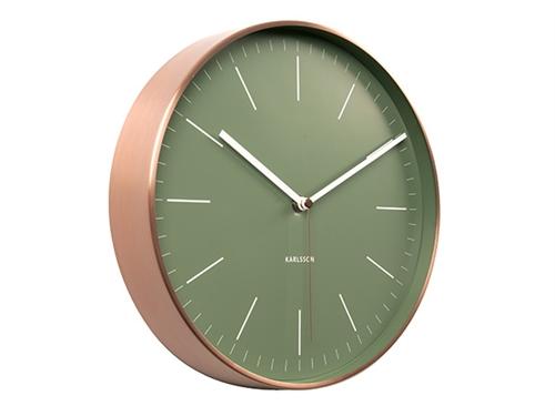 Nástěnné hodiny Minimal black w. copper case 27,5 cm zelené - Karlsson