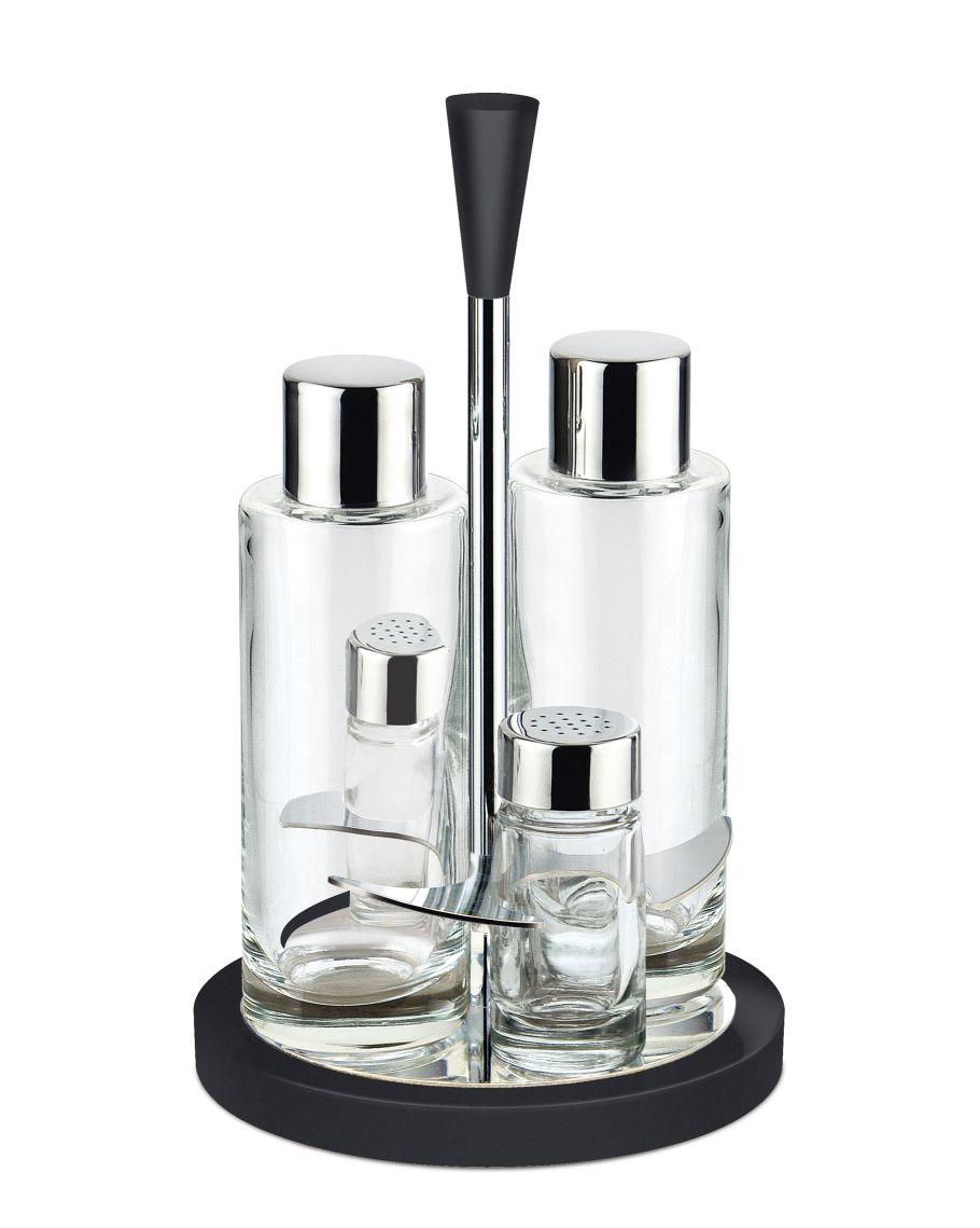 Glossy Menáž 4-dílná sada olej, ocet, pepř a sůl černá - Carlo Giannini