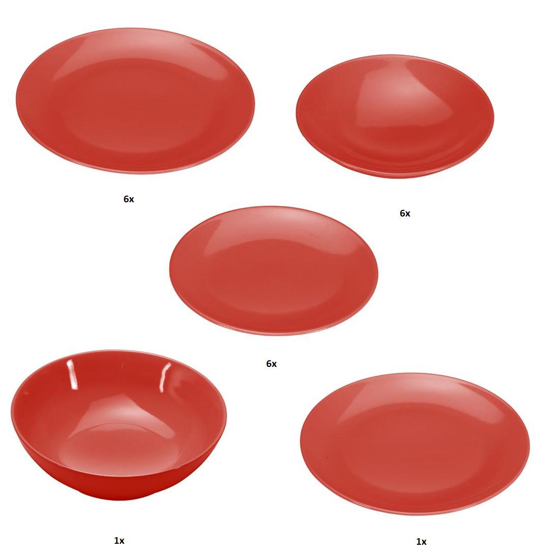 COLOURS Jídelní souprava 20 ks červená - Carlo Giannini