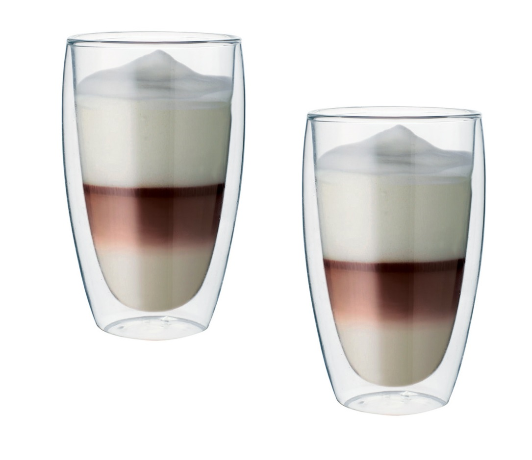 Dvoustěnný skleněný šálek na latte 380 ml 2ks - Pavina