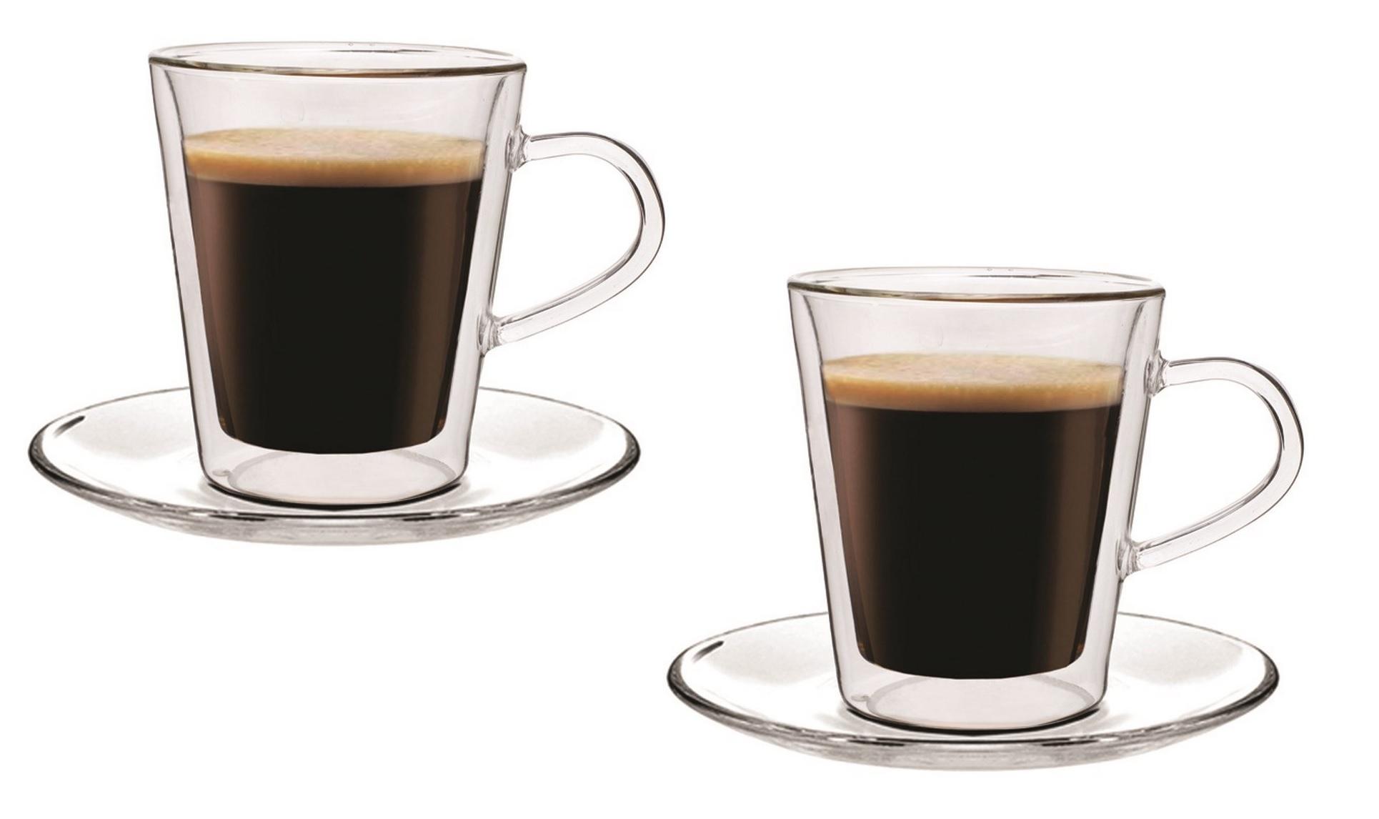 Dvoustěnný skleněný šálek s podšálkem espresso Doopio 100 ml 2ks - Maxxo