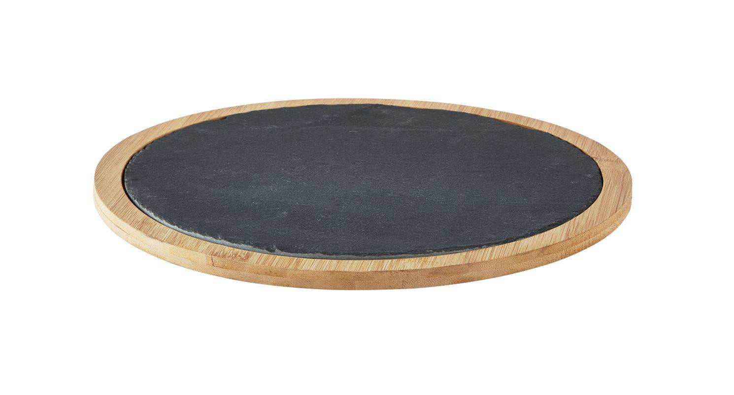 Servírovací tác Ø 30 cm, břidlice/bambus - Galzone