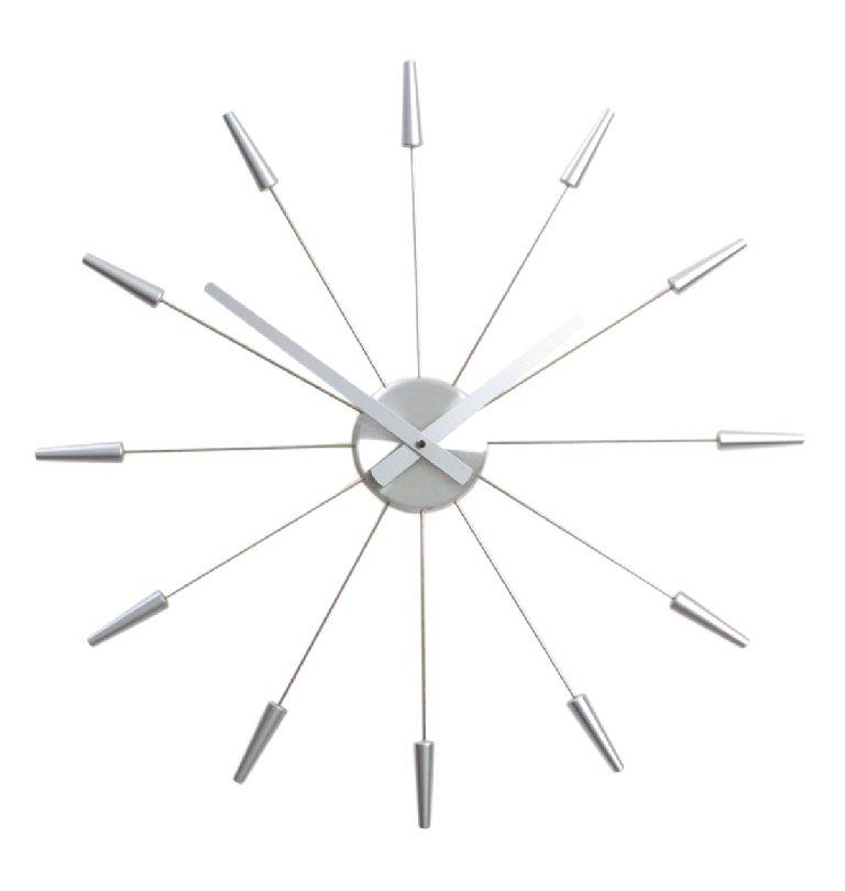 Designové hodiny PLUG INN 60 cm, kov/stříbrné - NEXTIME