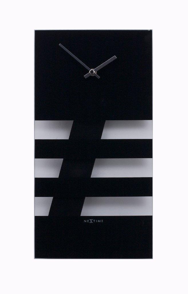 Nástěnné hodiny BOLD STRIPES 19 x 38 cm černé - NEXTIME