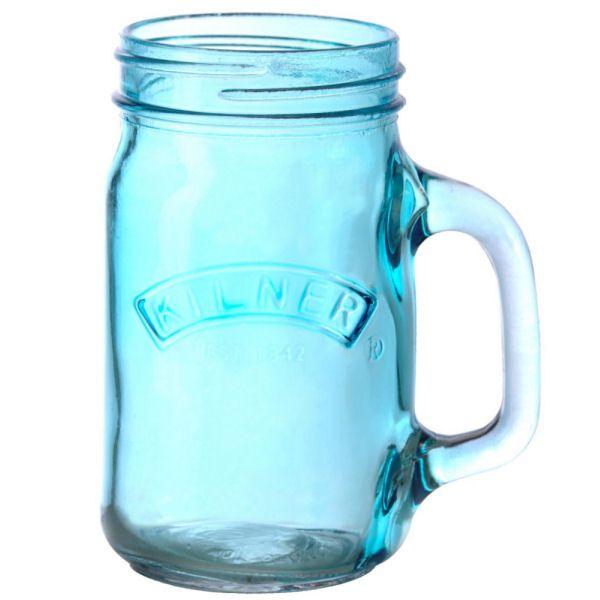 Skleněný džbánek s rukojetí 0,35l modrý - Kilner