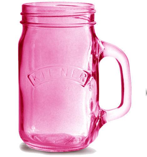 Skleněný džbánek s rukojetí 0,35l růžový - Kilner