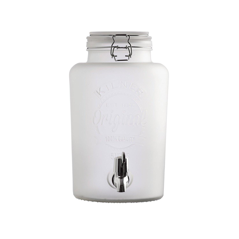 Skleněný nápojový automat s kohoutkem z mléčného skla 5,0l bílý - Kilner