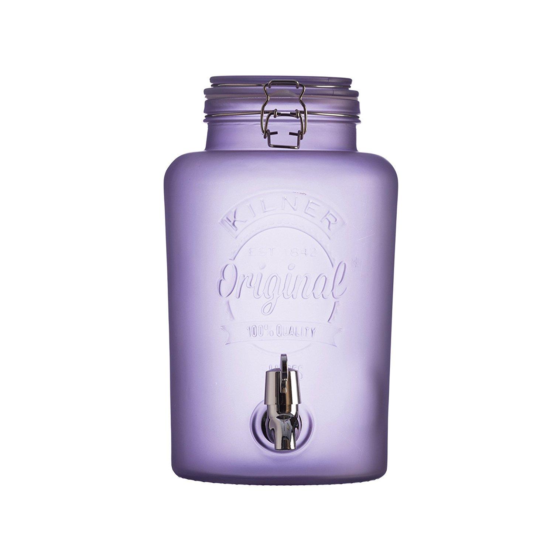 Skleněný nápojový automat s kohoutkem z mléčného skla 5,0l fialový - Kilner