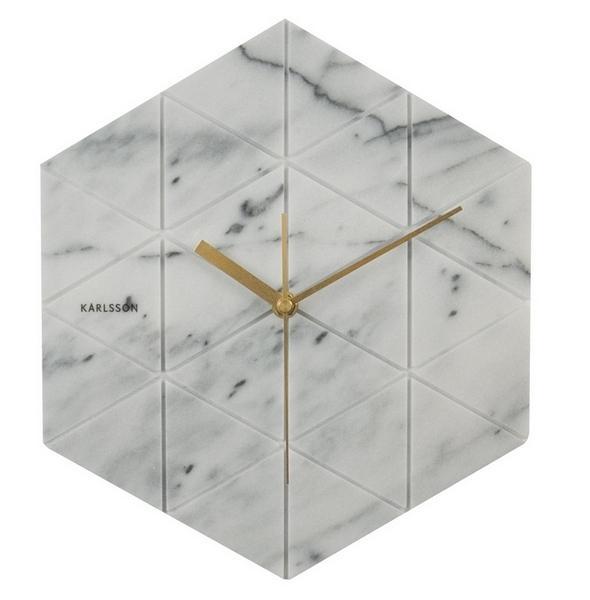 Nástěnné hodiny Mramor white 28,5 cm bílé - Karlsson