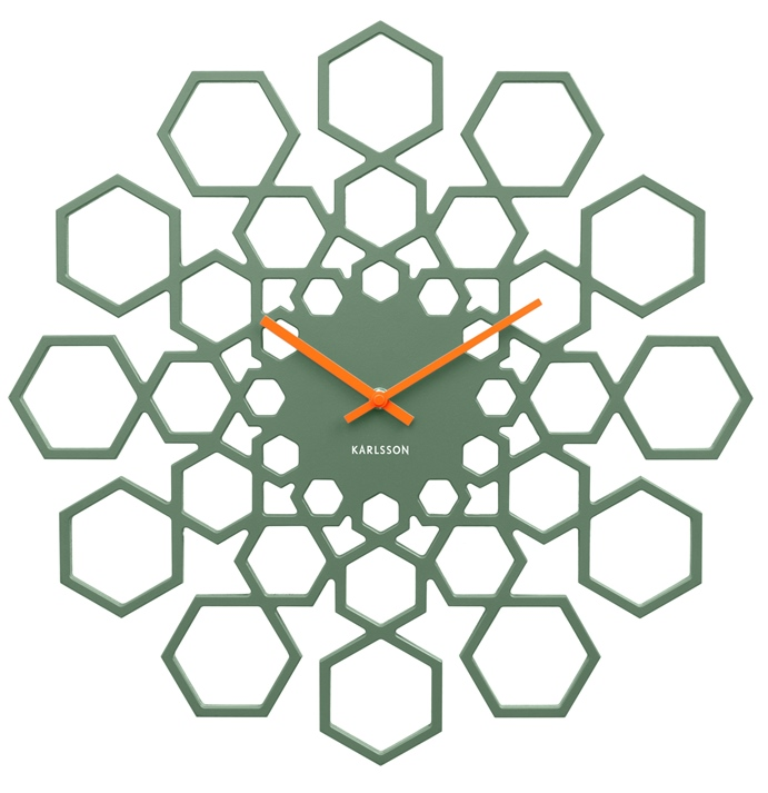 Nástěnné hodiny Sunflower 48 cm dřevěné zelené - Karlsson
