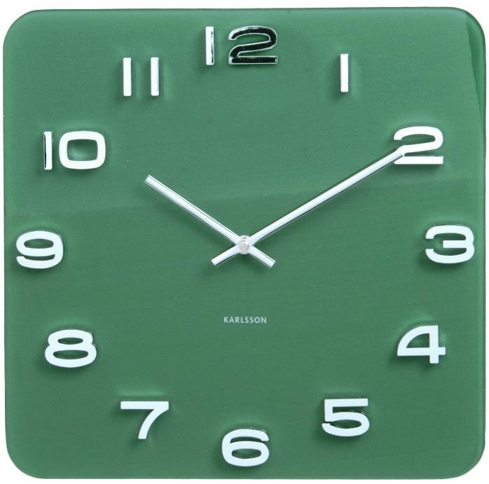 Nástěnné hodiny Vintage Glas 35 x 35 cm zelené - Karlsson