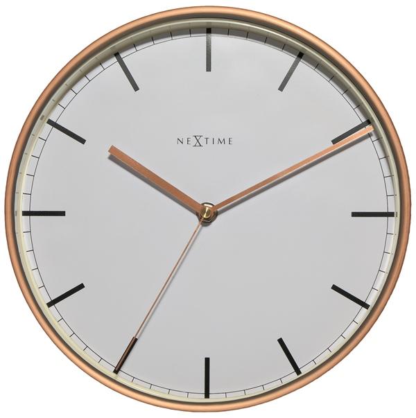 Nástěnné hodiny Company 30 cm bílé/bronz - NEXTIME