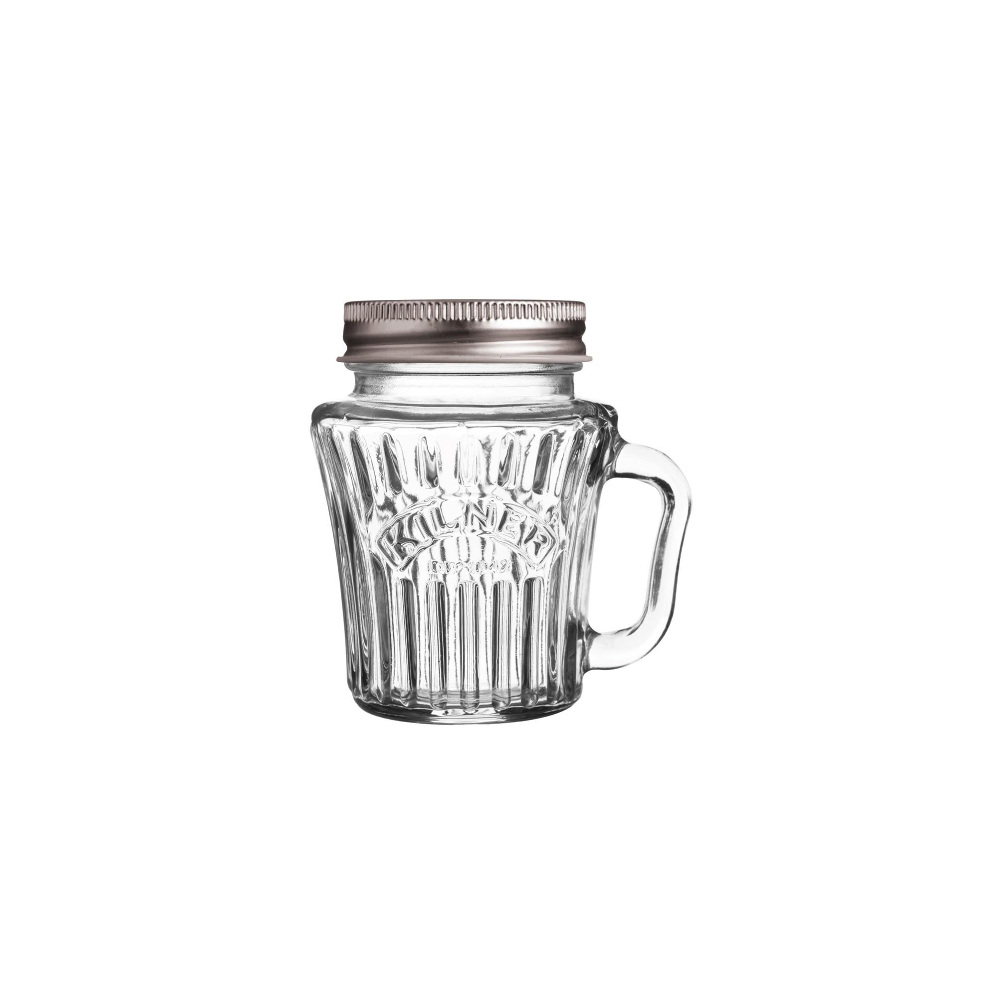 Skleněný fazetový džbánek s rukojetí 0,1l - Kilner