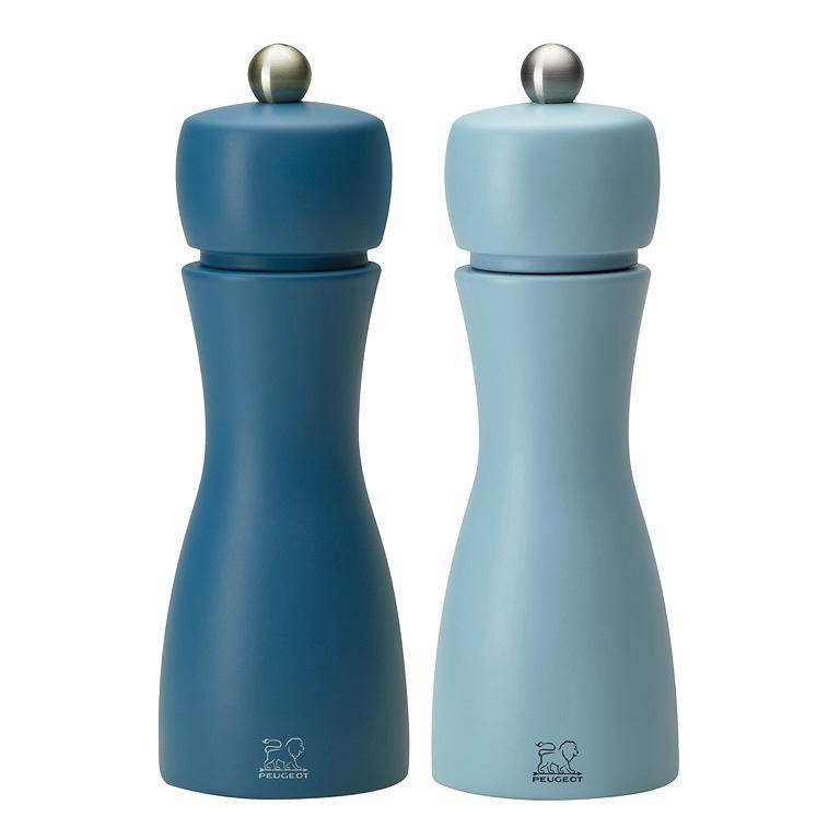 Set mlýnků na pepř a sůl léto TAHITI, bukové dřevo 15 cm modrá/modrá - Peugeot