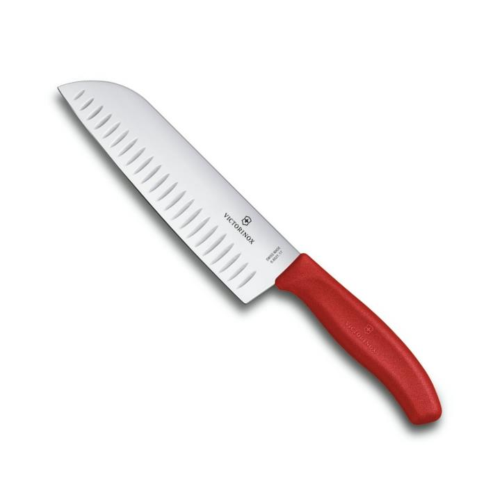 Japonský Nůž Santoku s výbrusy SWISS CLASSIC 17 cm červený - Victorinox