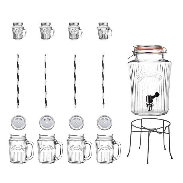 Sada Skleněný nápojový automat s kohoutkem 5l a 4 ks džbánků 400 ml - Kilner