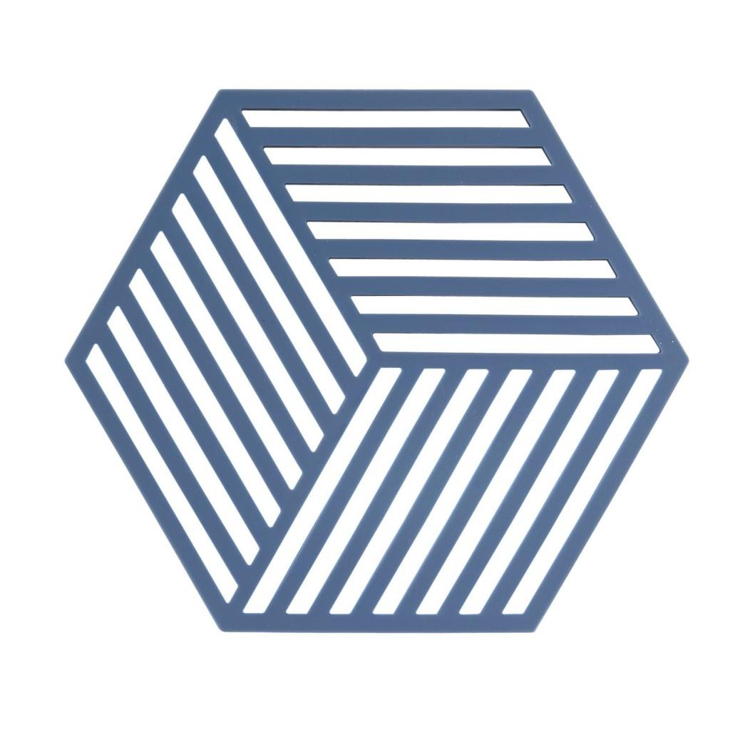 Silikonová podložka pod horké HEXAGON denimová modř - Zone