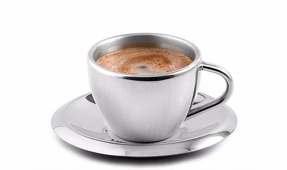 Šálek s podšálkem na espresso nerezový 55 ml - Weis