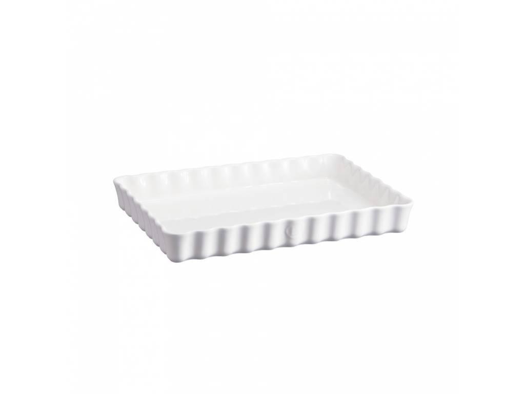 Keramická obdélníková koláčová forma 24 x 34 cm Flour bílá nugátová- Emile Henry