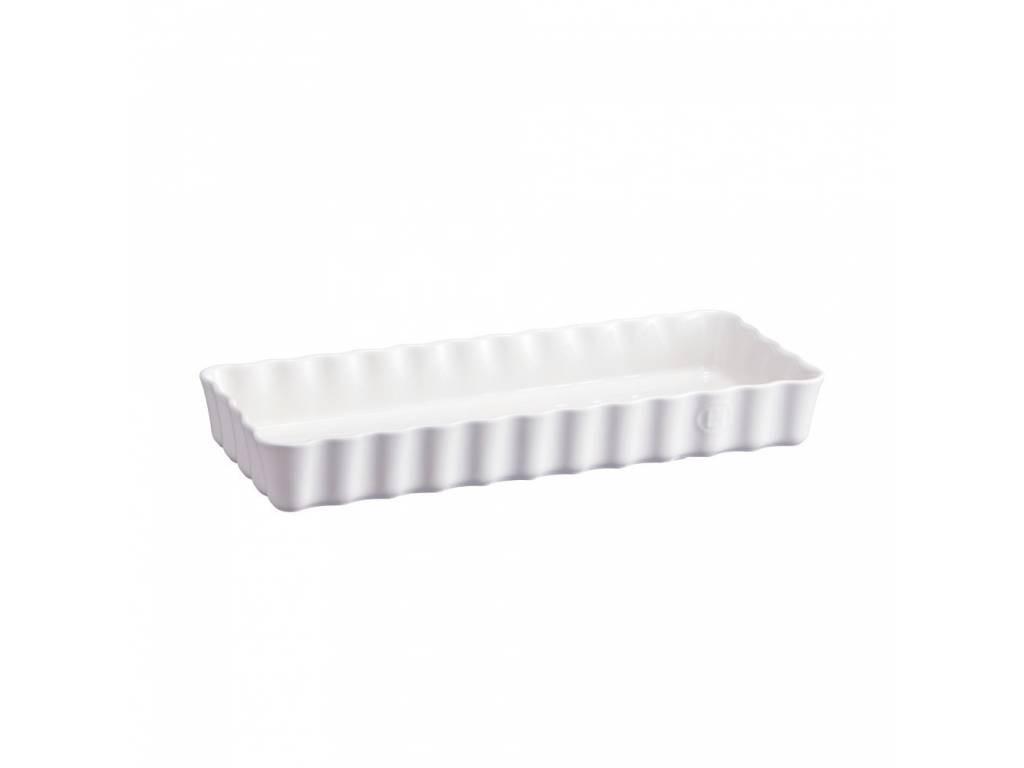 Keramická obdélníková koláčová forma 15 x 36 cm Flour bílá nugátová- Emile Henry