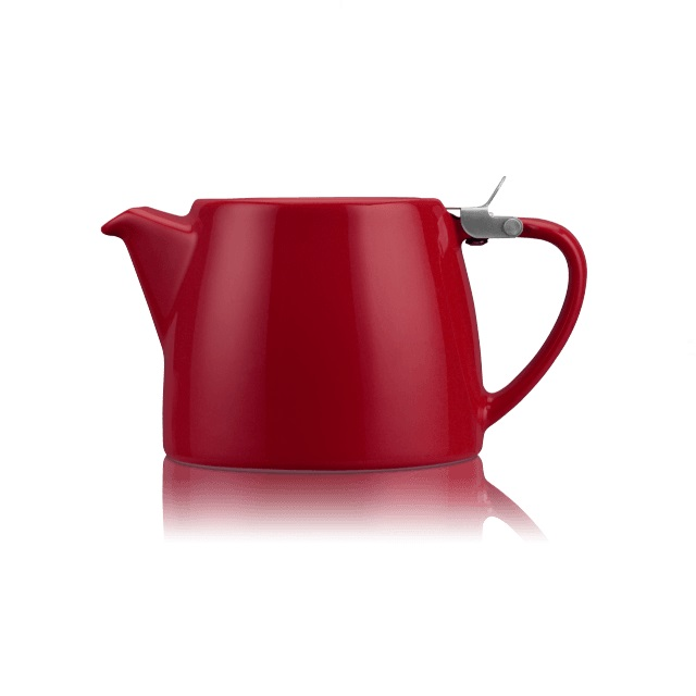 Porcelánová konvička na čaj Stump 0,55 l burgundy - ForLife