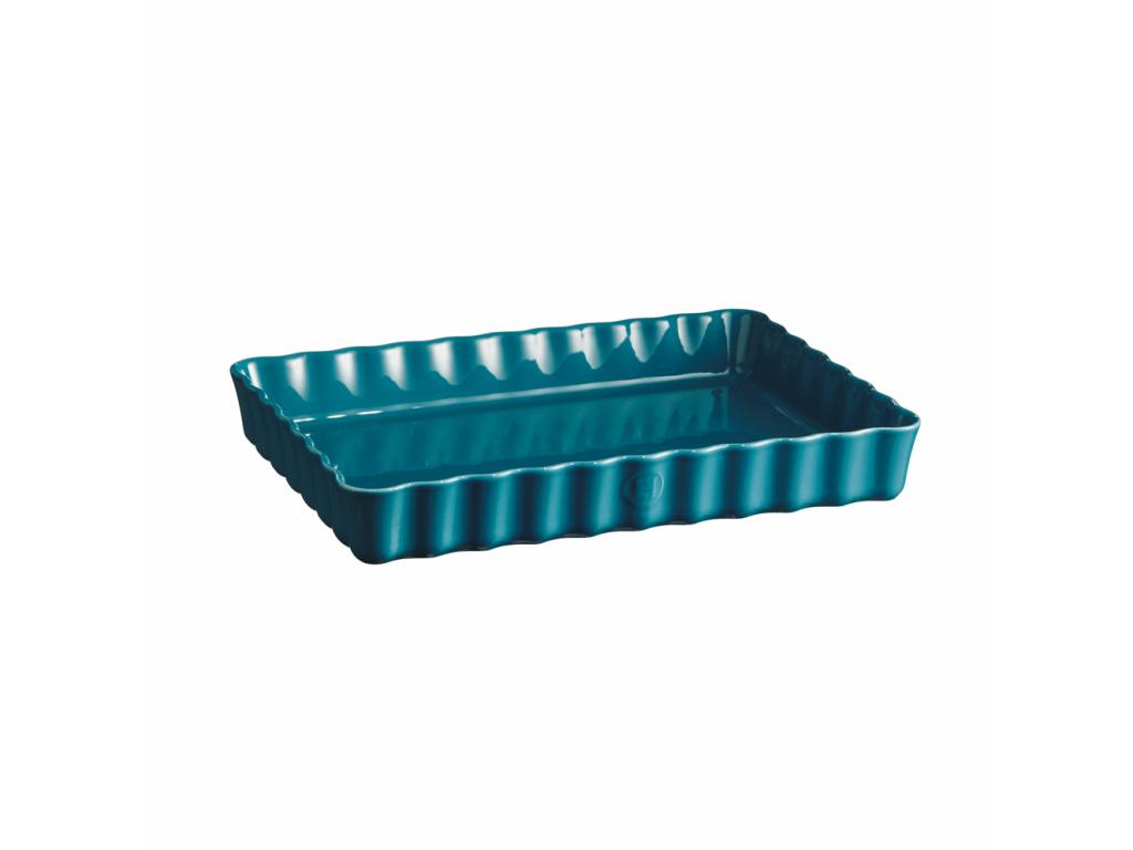 Keramická obdélníková koláčová forma 24 x 34 cm Calanque modrá - Emile Henry
