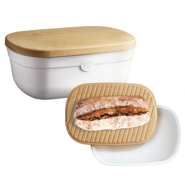 Keramický chlebník s prkénkem 35,5 x 24,5 cm Flour bílá nugátová - Emile Henry