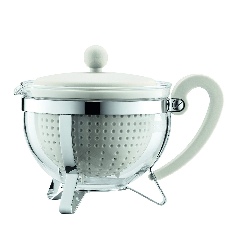 Konvice na čaj CHAMBORD 1,0 l bílá s bílým plastovým víkem - Bodum