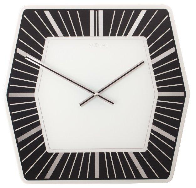 Nástěnné hodiny Hexagon Designové černé 43 x 43 cm - NEXTIME