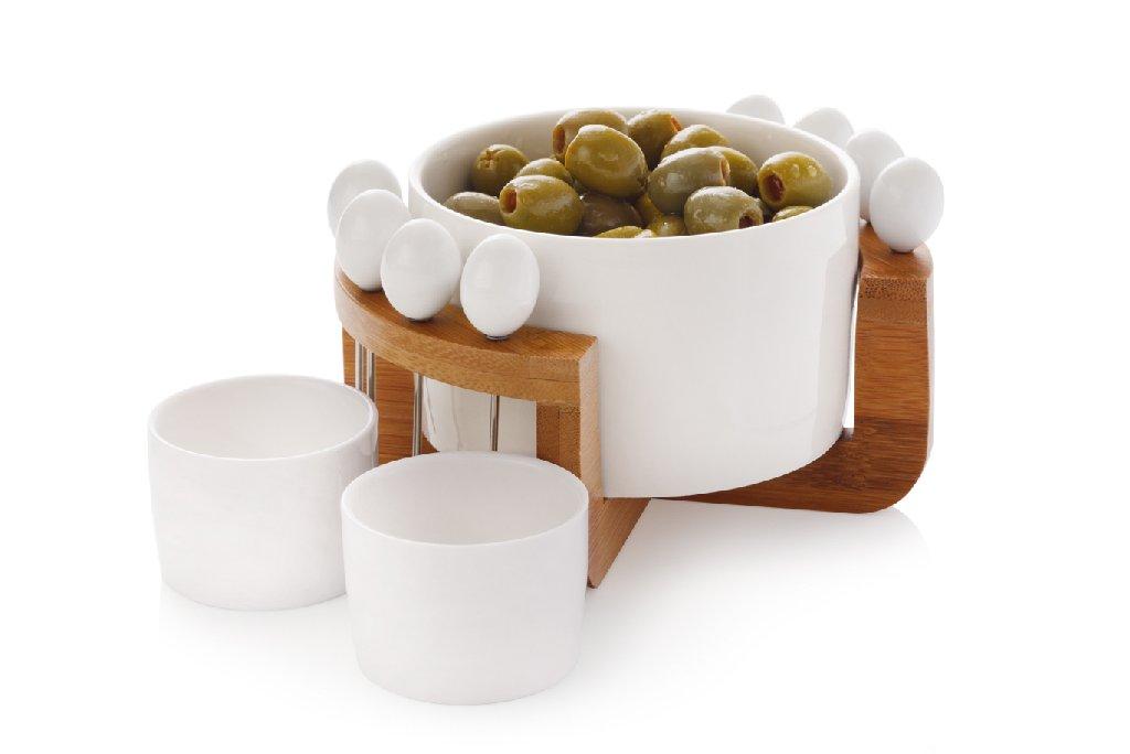 12dílná sada na olivy porcelán&dřevo White Basics Bamboo - Maxwell&Wil