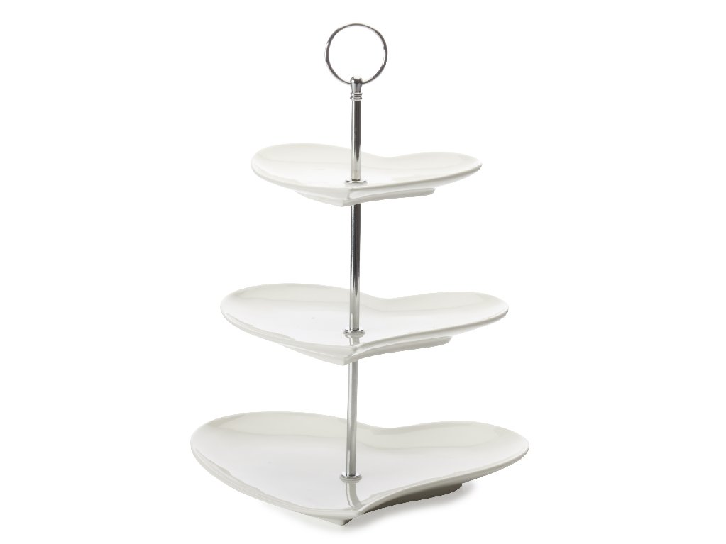 Porcelánový Etažér 3dílný ve tvaru srdce White Basics - Maxwell&Willia