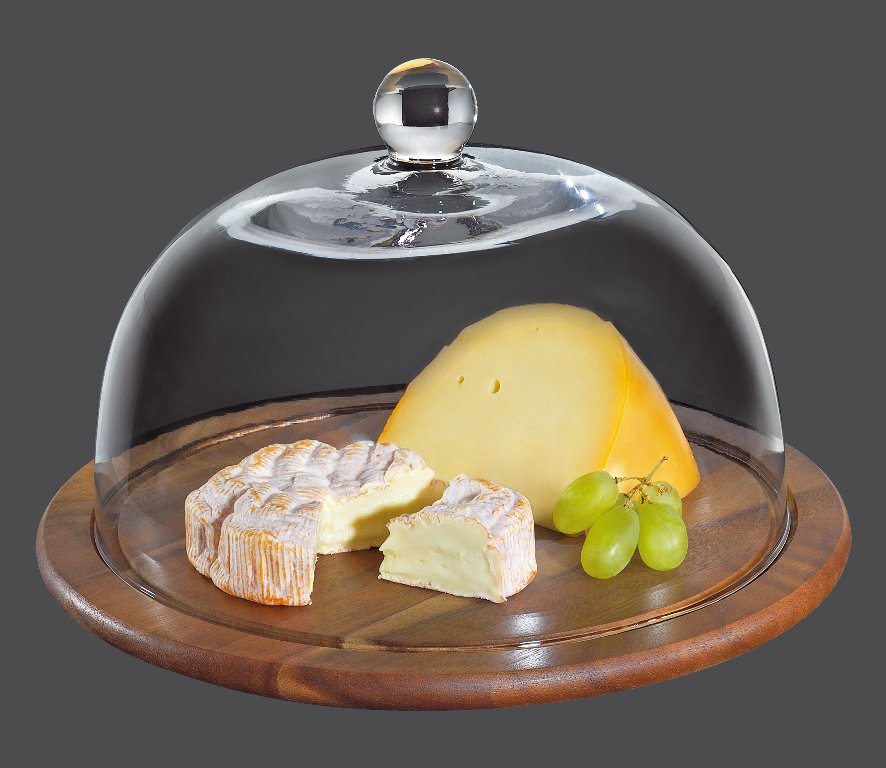 Prkénko na sýr se skleněným poklopem akácie 30 cm - Zassenhaus