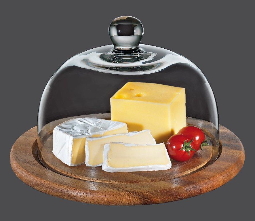 Prkénko na sýr se skleněným poklopem akácie 25 cm - Zassenhaus