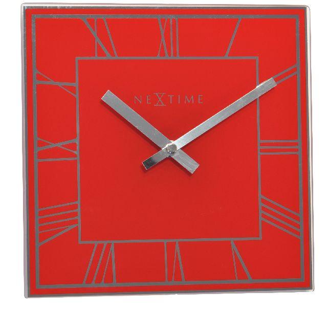 Fotografie Nástěnné/stolní hodiny Square 20 x 20 cm červené - NEXTIME