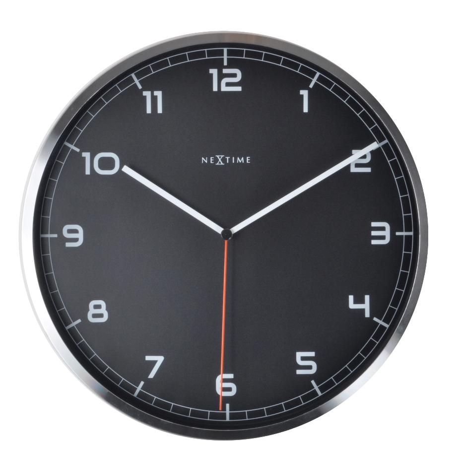 Nástěnné hodiny Company number 35 cm černé - NEXTIME