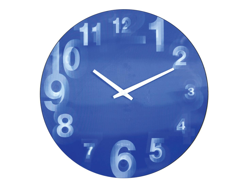 Nástěnné hodiny 3D 39 cm modré - NEXTIME